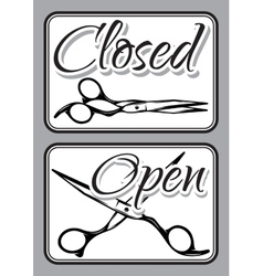Set of vintage door signs for barber shop with vector image
