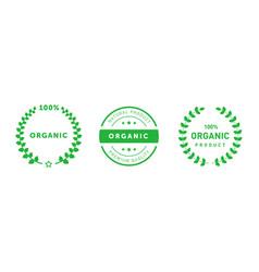 Set organic 100 percent premium quality badges vector