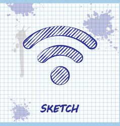 sketch line wi-fi wireless internet network symbol vector image