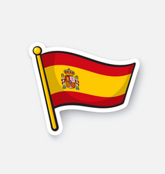 sticker flag spain on flagstaff vector image