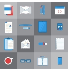 Students work table icons vector image