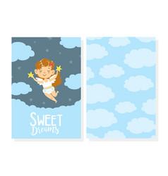 Sweet dreams card template adorable smiling girl vector