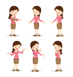 Teacher woman various actions vector