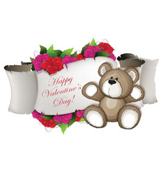 teddy bear and flowers vector image