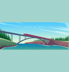 train rides over bridge vector image