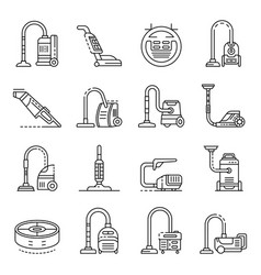 Vacuum cleaner icons set outline style vector