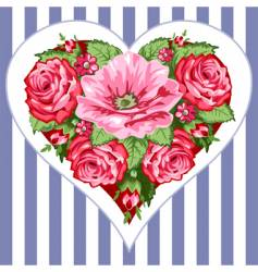 victorian roses heart vector image