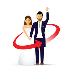 Waving wedding couple as an icon vector