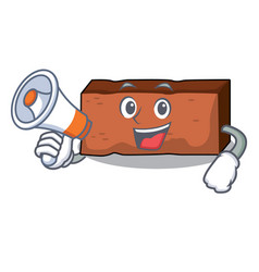 With megaphone brick character cartoon style vector