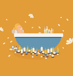 woman relaxing in bathtub vector image