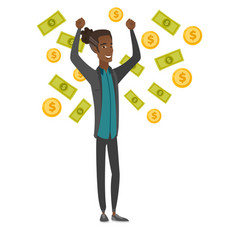 Young african-american busiessman under money rain vector