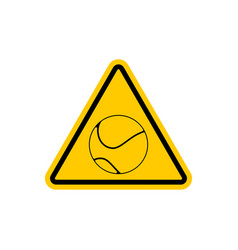 attention tennis danger yellow road sign games vector image vector image