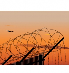 barbed wire fence vector image vector image