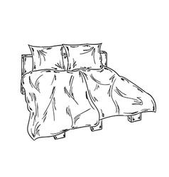 Bed sketch vector