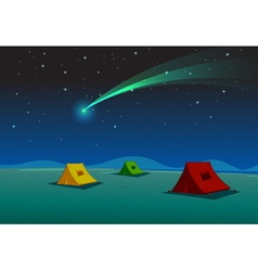 Camping under Comet vector image vector image