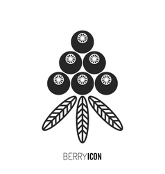 Flat black icon silhouette Berry and fruit vector image
