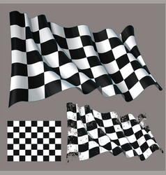 Race checkered finish waving flag vector