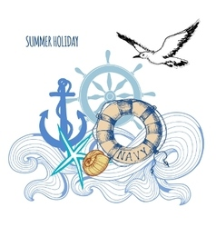 Sailing background summer sea holiday design vector image vector image