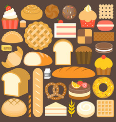 bakery product icon set in flat design vector image vector image