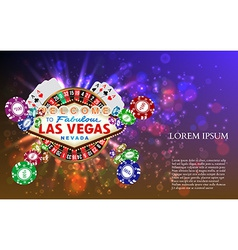 Casino Roulette Playing Cards witn Falling Chips vector image