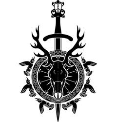 Deer skull sword and shield North Viking vector image