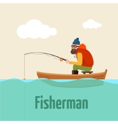 Fishing on the boat of vector image vector image