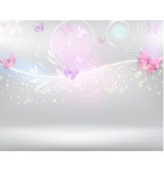 Horizontal background with color butterflies vector image