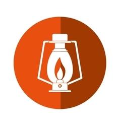 lamp kerosene old lantern camping button shadow vector image