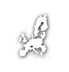 map of the eu with shadow vector image