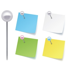 Pushpins with paper vector image vector image