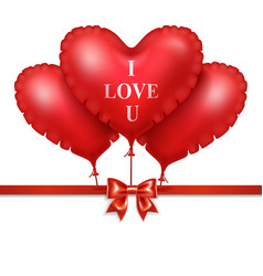 Red heart balloons with red satin ribbon isolated vector