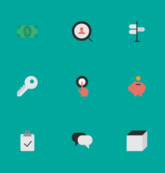 Set of simple business icons elements opening vector