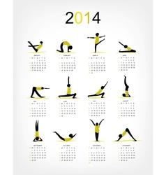 Yoga calendar 2014 for your design vector image vector image