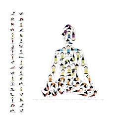 Yoga lotus pose made from asanas for your design vector image