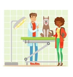 cheerful woman and veterinary doctor examining dog vector image