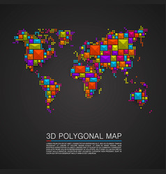 map 3d polygon art cube vector image