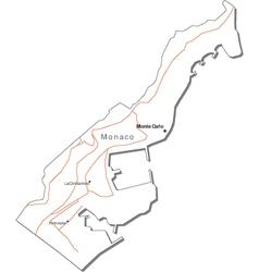 Monaco Black White Map vector image vector image