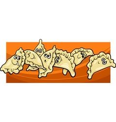 Pierogi or dumplings cartoon vector