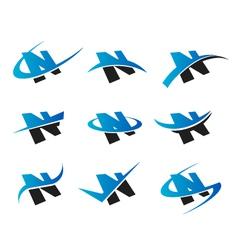 Alphabet N Logo Icons vector image vector image