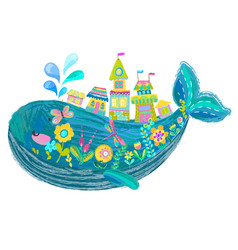 big beautiful whale with houses and flowers vector image vector image