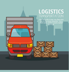 freight transportation and delivery logistic vector image vector image