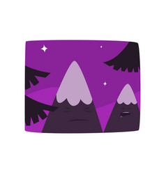 Mountains at night time beautiful landscape vector