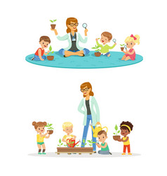 teacher with kids learning about plants during vector image