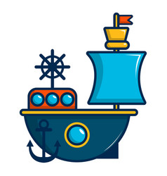 toy sailing ship icon cartoon style vector image