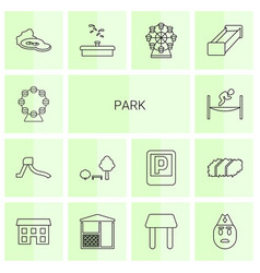 14 park icons vector image