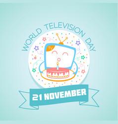21 november world television day vector image