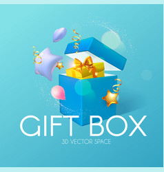 3d realistic gift box with gold bow and flying vector