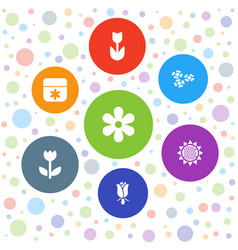 7 blossom icons vector