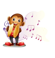 A monkey playing with the cymbals vector