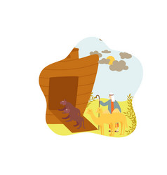 animals arriving at noah ark bible story isolated vector image